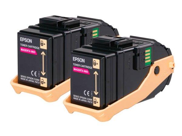 Original Epson C13S050607 Toner Magenta Doppelpack