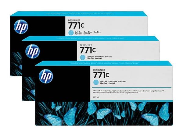 Original HP B6Y36A / Nr. 771C Tinte Multipack Cyan (Light) 3 Stück