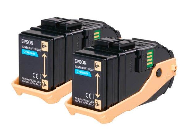 Original Epson C13S050608 Toner Cyan Doppelpack