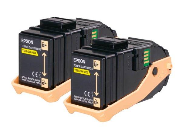 Original Epson C13S050606 Toner Yellow Doppelpack